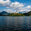 Lake Bled with church. — Stock Photo