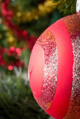 Vertical view of christmas ball. — Stock Photo