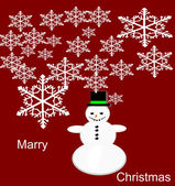 Vector snowman Christmas greeting card. — Stock Vector