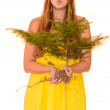 Woman holding a tree — Stock Photo
