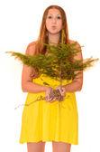Woman holding a tree — Stock Photo