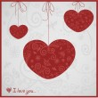 Card for Valentines day with pretty ornament hearts — 图库矢量图片