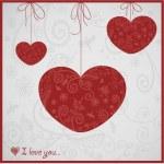 carta per San Valentino con cuori grazioso ornamento — Vettoriale Stock
