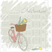 Beautiful card with pretty bicycle and yellow tulip on Amsterdam background — Stock Vector