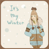Winter fashion girl — Stock Vector
