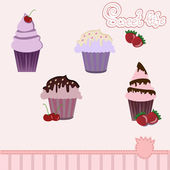 Illustration of isolated set of beautiful celebratory cupcakes — Stock Vector