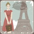 Pretty woman on a Paris background. Vector illustration — Stock Vector