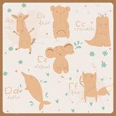 Alfabeto de animales graciosos para niños. a f — Vector de stock