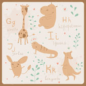 Funny animals alphabet for kids. G to K — Stock Vector