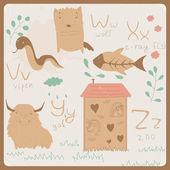 Alfabeto de animales graciosos para niños. v z — Vector de stock