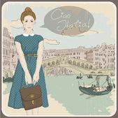 Красивая женщина на фоне Венеции. Векторные иллюстрации — Cтоковый вектор