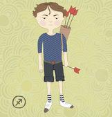 Zodiac sign Sagittarius. The boy with the arrows. Looks like Robin Hood eps 10 — Stock Vector