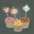 Vintage illustration with cakes on old background.  — Stock Vector