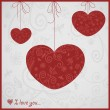 Card for Valentines day with pretty ornament hearts — Stock Vector