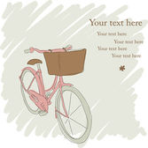 Beautiful card with pretty bicycle in pencil — Stock Vector