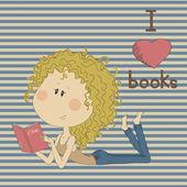 Ilustrace s hezká dívka na retro pozadí. — Stock vektor