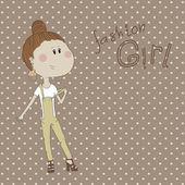Sevimli çizgi hippi kız resmi. — Stok Vektör