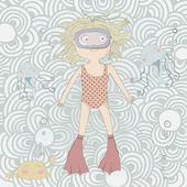 Zodiac sign Pisces. Cute little girl swimming with jellyfishes — Stock Vector