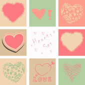 Hearts set for Valentines day and your greeting card — Stock Vector