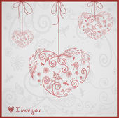Great card for Valentine's Day with pretty ornament hearts — Stock Vector