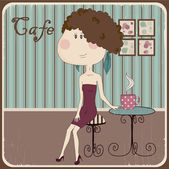 Illustration of a girl in a cafe. Vintage style — Vetor de Stock