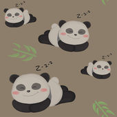 Sleepy little panda. Funny seamless children pattern with cute panda. — ストックベクタ