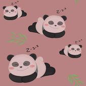 Somnolent petit panda. modèle drôle enfants sans couture avec panda mignon. — Vecteur