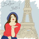Pretty girl on a paris-background. Vector illustration — Stock Vector