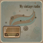 Retro card with old radio. Vintage background — Stock Vector