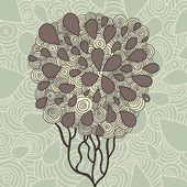 Hand Drawn Ornate Tree Doodle Vector Illustration — Stock Vector