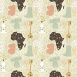 Cute cartoon seamless pattern with wild animals from Africa — Vettoriali Stock