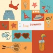 Collage with a variety of components for the summer holidays — Stock Vector