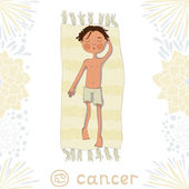 Zodiac sign Cancer. Boy sunbathe on the mat — Stock Vector