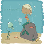 Little mermaid who is sitting on a stone — Stock Vector