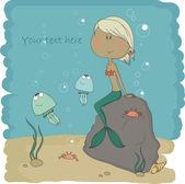 Lilla sjöjungfrun som sitter på en sten — Stockvektor