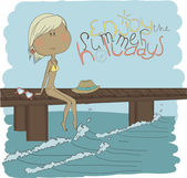 Girl sitting on a pier — Stock Vector