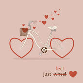 Bike with hearts instead of wheels. Great card for Valentine's Day — Stock Vector