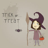 Little girl dressed as a witch. Postcard on Halloween — Stock Vector