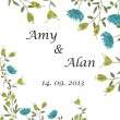Wedding invitation on the beautiful floral background. Can be used as wedding invitation or greeting card on any other holiday. Eps 10 — Stockvectorbeeld