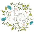 Birthday card on a floral background. Vector illustration for your holiday presentation. Easy to use. Eps 10 — Stock Vector