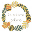 The circular frame of autumn leaves. Postcard in autumn colors — Stock Vector