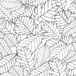 Autumnal leaves seamless background. Black and white seamless pattern of autumn leaves. EPS 10 — Stock Vector