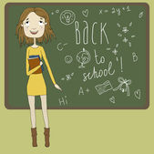 Beautiful girl with books in hand on the background of scribbled boards. Back to school, vector Eps10 illustration. — Stock Vector