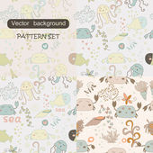 Set of four cute seamless patterns. Cartoon pattern with sea inhabitants: fish, crabs, jellyfish, seaweed. Cute seamless pattern with underwater life eps 10 — Stock Vector