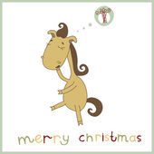 Year of the horse. Christmas and New Year card. Vector illustration for your holiday design. Illustration of a cute cartoon horse whose dream Christmas gift. 2014. Eps 10 — Stock Vector