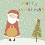 Cartoon funny Santa Claus on concept vector card. — Stock Vector #30730729