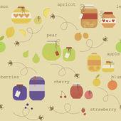 Cute seamless pattern with various fruit jam pot. Eps 10 — Stock Vector