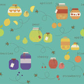 Cute seamless pattern with various fruit jam pot. Eps 10 — Stock Vector