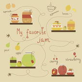 Vintage jams vector collection. Strawberry jam. Red cerry jam. — Stock Vector