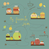 Vintage jams vector collection. Strawberry jam. Red cerry jam. Pear jam. Apple jam. Set of different confitures. Isolated pots of jam. Jam jar — Stock Vector